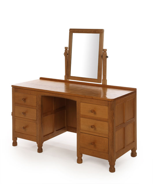 BE150 Solid Oak Dressing Table with Fixed Mirror 4'6