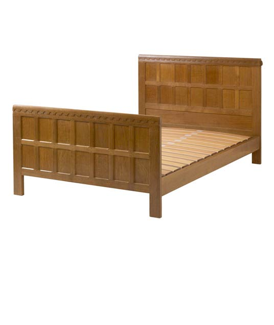 BE020 Solid Oak Panelled Bedstead 4'6