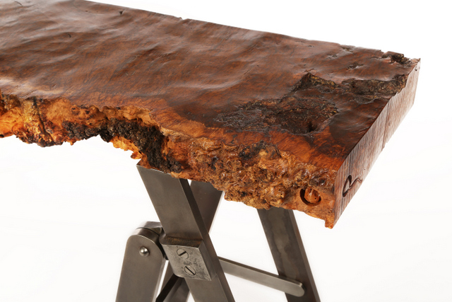 Beautiful ... BS070 Burr Oak And Steel Console Table ...