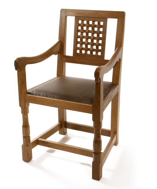 CH040 Solid Oak Lattice Back Arm Chair