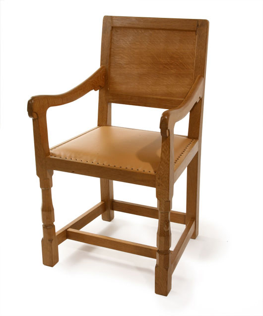 CH070 Solid Oak Panel Back Arm Chair