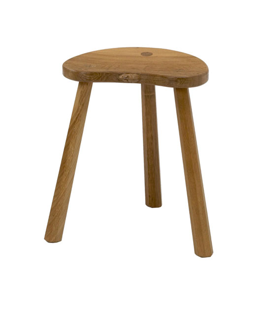 CT190 Solid Oak Cow Stool, three legs 1'6