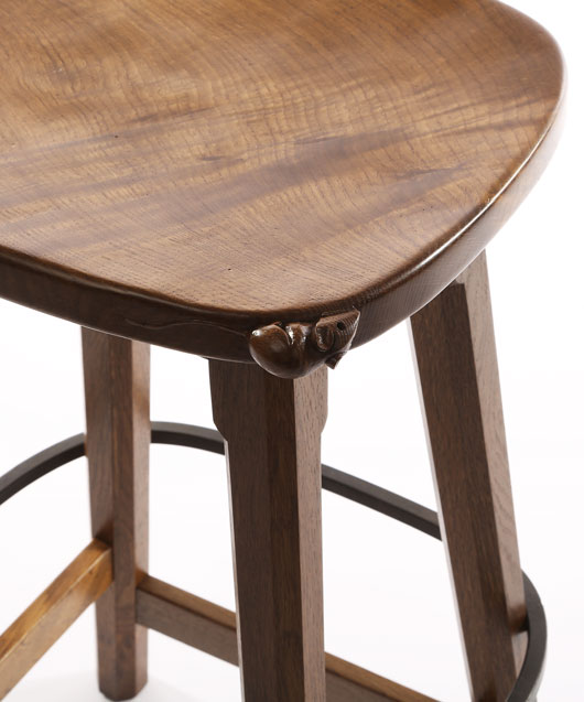 CT141 Solid Oak Low Bar Stool 2