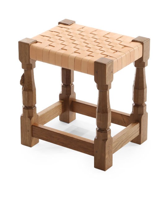 "CT110 Solid Oak Small Stool, Leather Top 1'1½""W"