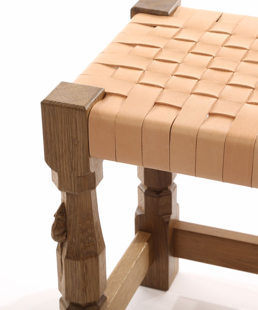 CT110 Solid Oak Small Stool, Leather Top 1