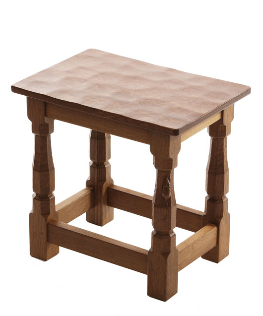 CT100 Solid Oak Small Stool with flat or curved Oak Top 1'4
