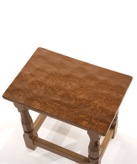 CT100 Solid Oak Small Stool with flat or curved Oak Top 1