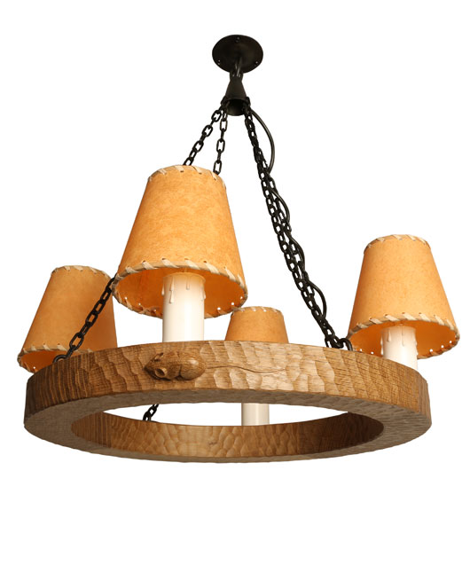 MS130 Solid Oak Circular Chandelier 1'6